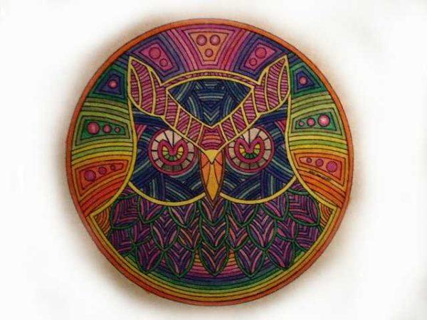 Mandalas Para Colorear Con Animales Y Zentangles: 61 Mandalas Y Zentangles Con Buhos Y Lechuzas: Diseños Y