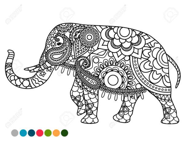Dibujo Elefante Para Colorear E Imprimir: Diseños De Elefantes Hindúes En Mandalas: Significado Y