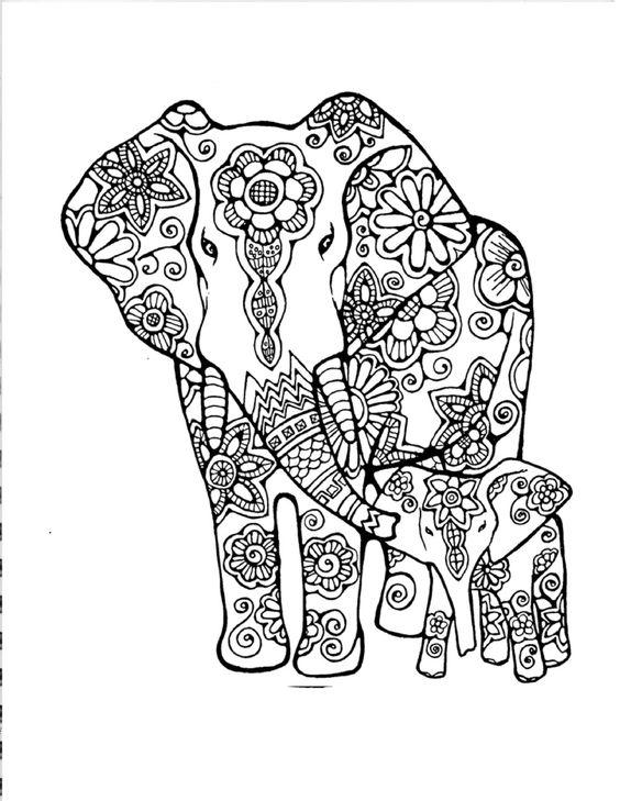 Dise os de elefantes hind es en mandalas significado y for Elephant mandala coloring pages