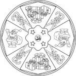Diseños navideños y religiosos de mandalas para colorear