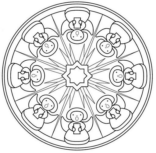 Diseños navideños y religiosos de mandalas para colorear | Mandalas