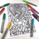 Unicornios: Mandalas y Zentangles con Pegasus para colorear