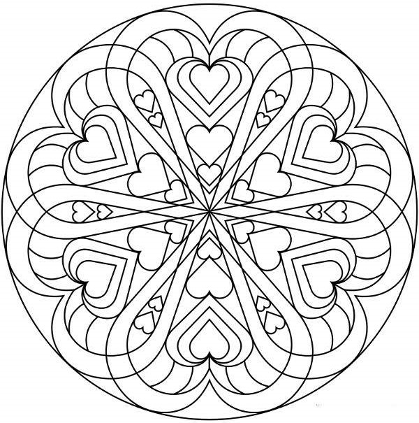 Mandalas de amor para San Valentin: Imprimir y Colorear   Mandalas