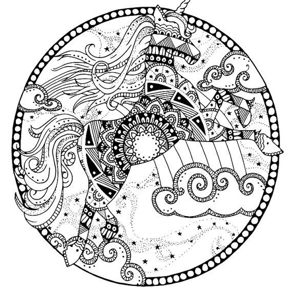 Volwassen Kleurplaat Ingekleurd Mandalas De Unicornios Para Pintar E Imprimir Mandalas