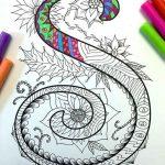 Zentangles con letras para descargar y colorear